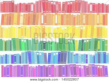 Books - vector illustration. Collection of books in the colors of the rainbow.