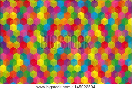 Abstract background with cubes. Colorful glowing background with geometric figures.