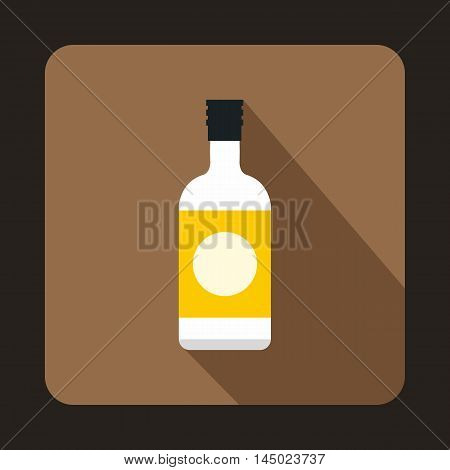 Sake bottle icon in flat style on a coffee background