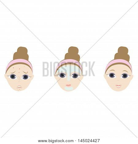 Vector facial icons of acne, pimples, wrinkles, facial mask for your design