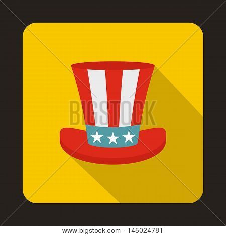 Uncle Sam hat icon in flat style isolated with long shadow