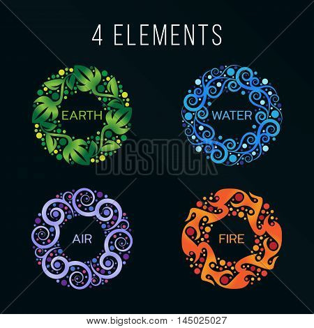 Nature 4 elements circle abstract sign. Water Fire Earth Air. on dark background.