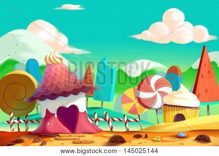 Beautiful Candy and Cookie Land with Icecream Mountain and House. Video Game's Digital CG Artwork, Concept Illustration, Realistic Cartoon Style Background