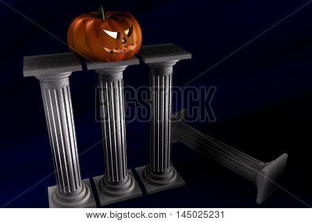 3d Illustration of halloween pumpkin standin over columns