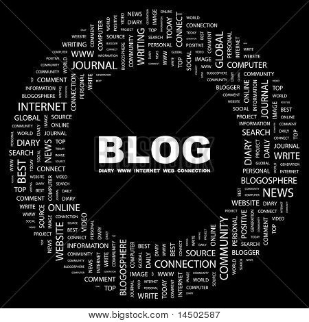 BLOG. Word collage on black background. Vector illustration. Illustration with different association terms.