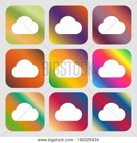Cloud Icon. Nine Buttons With Bright Gradients For Beautiful Design. Vector