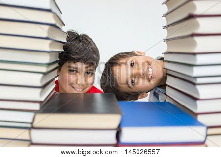 Children in library with books