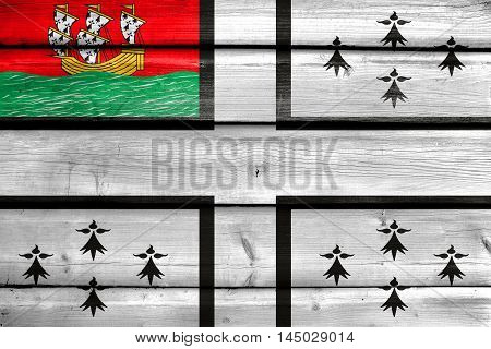 Flag Of Nantes, France, Painted On Old Wood Plank Background
