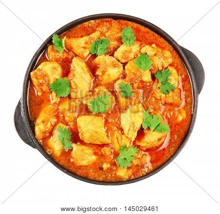 Chicken curry on a white background
