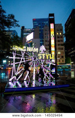 Seoul, Republic of Korea - October 21, 2014: Located in the centre of the Gangnam District of Seoul, the 'Gangnam Style Horse Dancing Stage' pays tribute to artist Psy