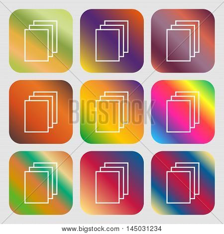 Copy File Sign Icon. Duplicate Document Symbol . Nine Buttons With Bright Gradients For Beautiful De