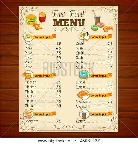 Fast food menu with decorative frame vignettes snack dishes beverage and pastry on wooden background vector illustration