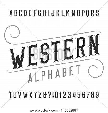 Western style retro alphabet font. Distressed serif type letters, numbers and symbols. Vintage vector typography for labels, headlines, posters etc.
