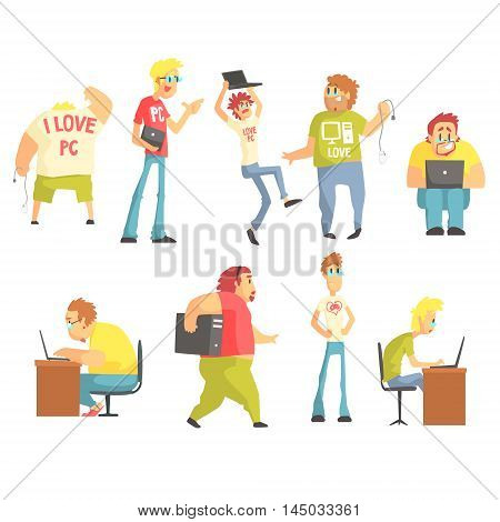 Professional Programmers Funny Characters Set Of Graphic Design Cool Geometric Style Isolated Drawings On White Background