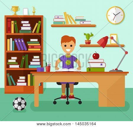 Kid learns concept. Smiling boy reading book and learning in his room at the working desk, lamp, ball, bookcase, files, book, prize goblets. Flat design vector illustration.
