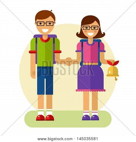 Flat design vector illustration of funny smiling boy and girl in glasses holding their hands and going to school with rucksack and bell. Back to school concept.