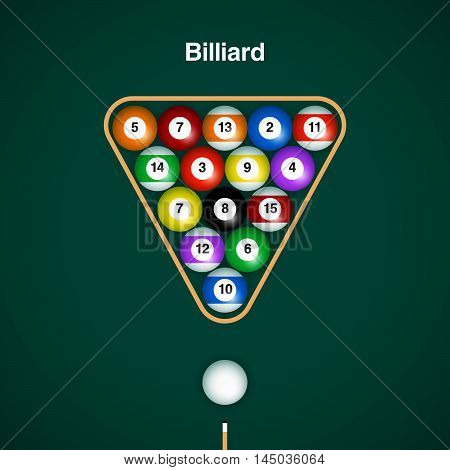 Placed billiard balls on table with cue and triangle on green table background.