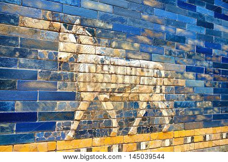 Berlin Germany August 2016: Tourists in front of Babylonian city wall in Pergamon museum. It is the most visited in Berlin with more than 1.5 million visitors per year.