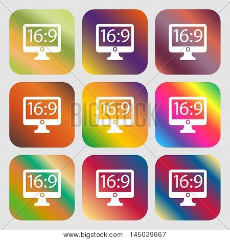 Aspect Ratio 16 9 Widescreen Tv Icon Sign . Nine Buttons With Bright Gradients For Beautiful Design.