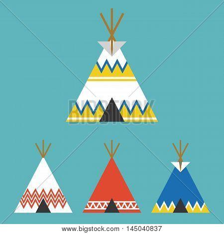 set of tee pee tent of native american, flat design vector
