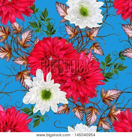 Pattern seamless. Autumn background. Autumn background. White red chrysanthemum flowers weaving thin branches bright yellow autumn leaves.