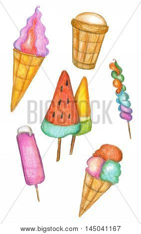 Raster pencil vivid set of most popular kinds of ice cream isolated on white. Cute design element decoration of catering recipe books and magazines covers and wrapping paper for production.