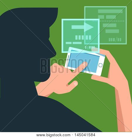 Vector flat illustration man silhouette with phone in the hands. Concept of design playing video mobile catch monsters game