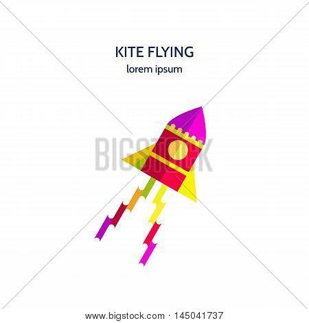 Vector illustration icon colored kite flying on white background. Logo design kite flying isolated