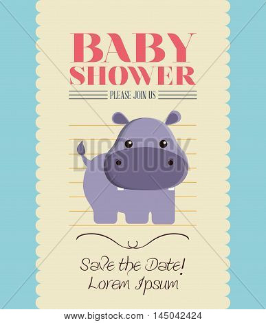 hippo animal cartoon baby shower card celebration party icon. Colorful and flat design. Vector illustration