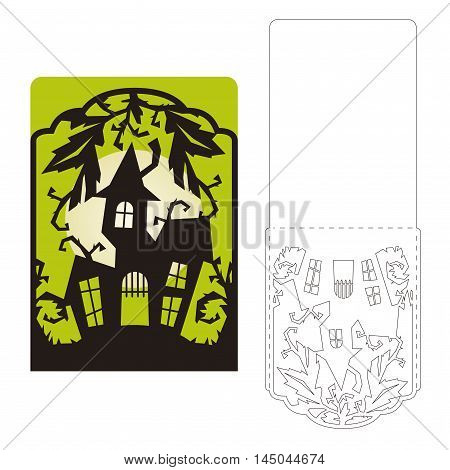 Laser Cut Halloween Vector Invitation Card Template. Scary Mansion.