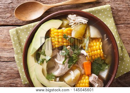 Colombian Cuisine: Ajiaco Soup With Chicken And Vegetables. Horizontal Top View