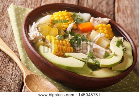 Potato Soup Ajiaco With Chicken Close Up In A Bowl. Horizontal