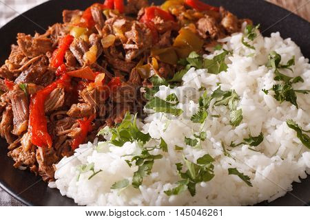 Cuban Cuisine: Ropa Vieja Meat With Rice Garnish Macro. Horizontal
