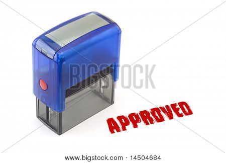 Blue modern self-ink rubber stamp with red