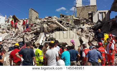 Corso Umberto I of Amateur on the morning of August 24, 2016 after the earthquake that destroyed the city
