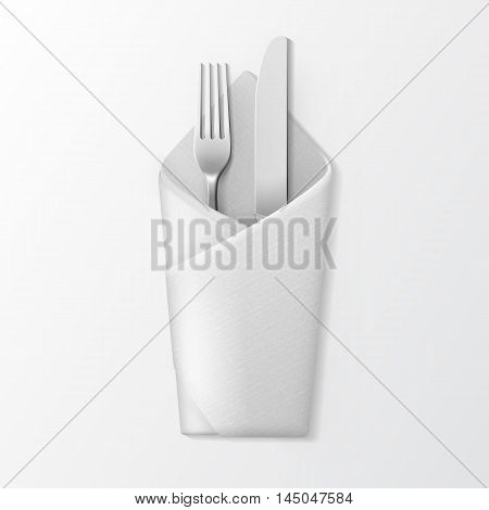 Vector White Folded Envelope Napkin with Silver Fork and Knife Top View Isolated on White Background. Table Setting