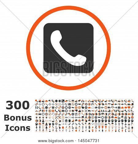 Phone rounded icon with 300 bonus icons. Vector illustration style is flat iconic bicolor symbols, orange and gray colors, white background.