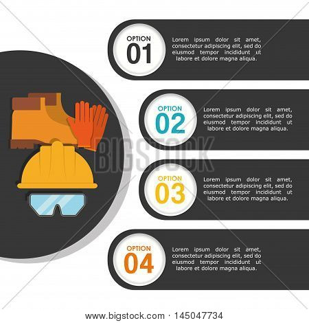 infographic boots glasses helmet industrial security safety protection icon set. Colorful and flat design. Vector illustration