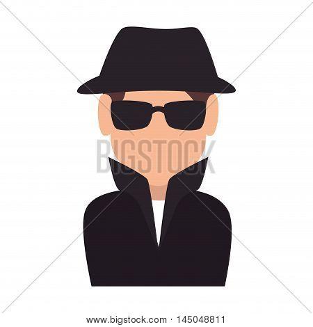 spy man agent face detective wearing glasses and hat black vector illustration