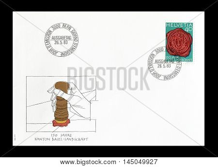 SWITZERLAND -CIRCA 1983 : Cancelled First Day Cover letter printed by Switzerland, that shows Seal with Canton Basel coat of arms.