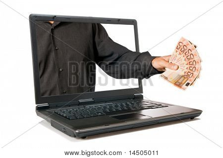 Hand with money come out from a screen of a laptop computer, isolated on white background. E-commerce and internet banking concept.