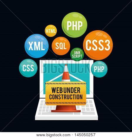 laptop cone barrier under construction site web online digital icon set. Colorful and flat design. Vector illustration