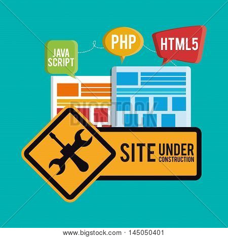 under construction tools road sign site web online digital icon set. Colorful and flat design. Vector illustration