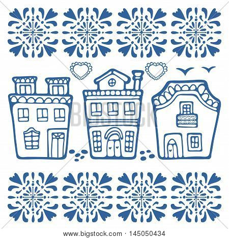 Cute collection of typical Portuguese houses. vector illustration