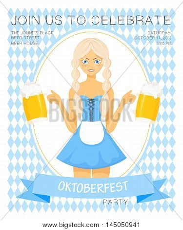 Vector detailed flat illustration of oktoberfest party invitation with bavarian girl in national dress holding two beer mugs on rhombic oktoberfest background.