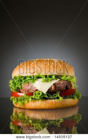 Grande freschi deliziosi hamburger fatti in casa con riflessione