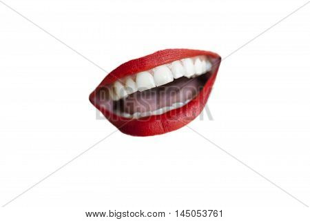 Isolated smiling red lips on white background.