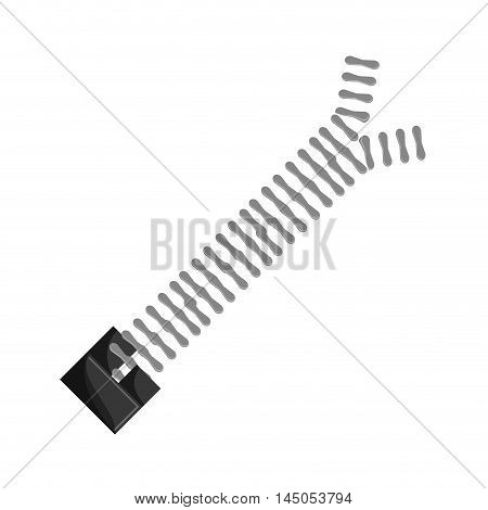 zip zipper metal cloth textile material icon. Flat and isolated design. Vector illustration