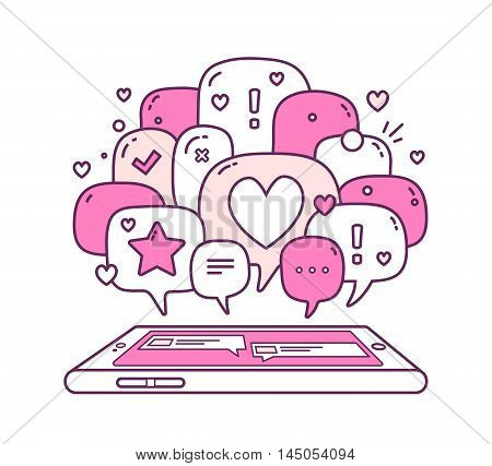 Vector Illustration Of Pink Color Dialog Speech Bubbles With Icons And Phone On White Background. Sa