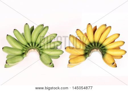 Compare with green egg-banana ,yellow egg-banana  on white background.